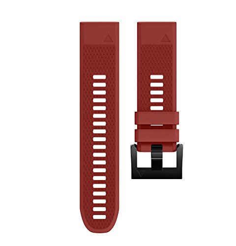 Wearable4U Garmin Fenix 5 Band 22mm Quick Release Easy Fit Silicone Replacement Watch Strap for Garmin Fenix 5 Sapphire, Quatix 5, Quatix 5 Sapphire, Forerunner 935, Approach S60 (Cherry Red)