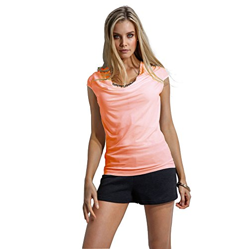 Pieghe Tumblr Cime Pullover Paillettes a Scollo Blusa T Shirt Aderente Camicetta shirt a Moda Slim Camicia Magliette Corte Maniche Basic Felpa Casual Top Tee Ragazza Donna Tinta con V Arancione Unita Fit Estiva nnW8gfaxZ