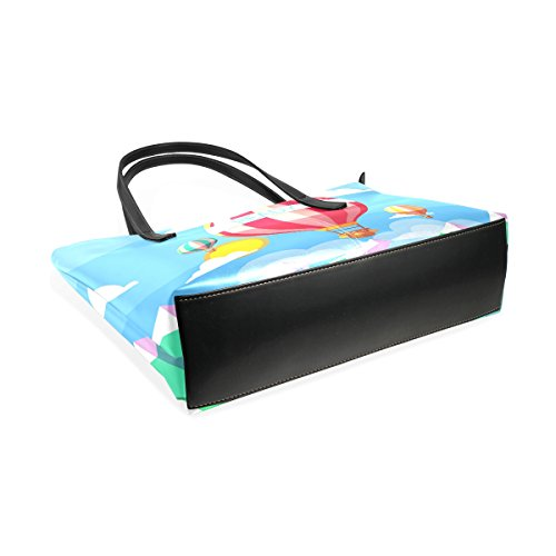 COOSUN Hot Air Balloons Pu-lederner Schulter-Beutel-Geldbeutel und Handtaschen-Einkaufstasche für Frauen