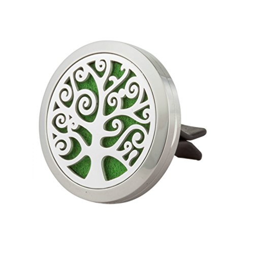 Aromatherapy Car Air Freshener - 'Tree Of Life' Design Stainless Steel Locket - Best Essential Oil Diffuser For Men & Women - Perfect Christmas Gifts For Family, Friends,Brother