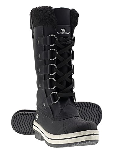 Arctic Shield Women's Warm Comfortable Insulated Waterproof Durable Outdoor Winter Snow Boots (7 US Women's, Black) by ArcticShield