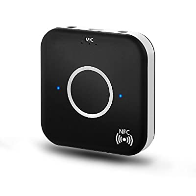 Bluetooth 4.1 Audio Receiver, Wireless Audio Adapter (NFC-Enabled) with Dual Aux 3.5mm Output and Handsfree Function for Home/ Car Stereo System, Mobile Phones, TV, PC