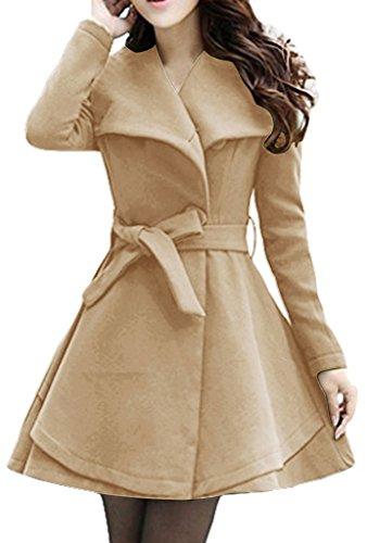 Wantdo Mujer Abrigo De Lana Con Cinturón Caqui