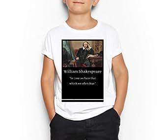 William Shakespeare White Round Neck T-Shirt For Kids 8-9 Years