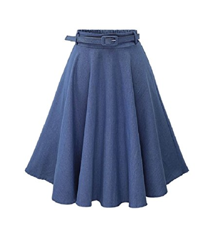 Full Circle Jeans (YUNY Women Belt Denim Full Circle Party Elasticated Waistband Skirt Light Blue OS)