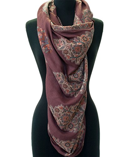 Wine Red Shawl Large Hand-Cut Kani Gold Jamavar Paisley Wool with Fine Details by Heritage Trading (Image #4)