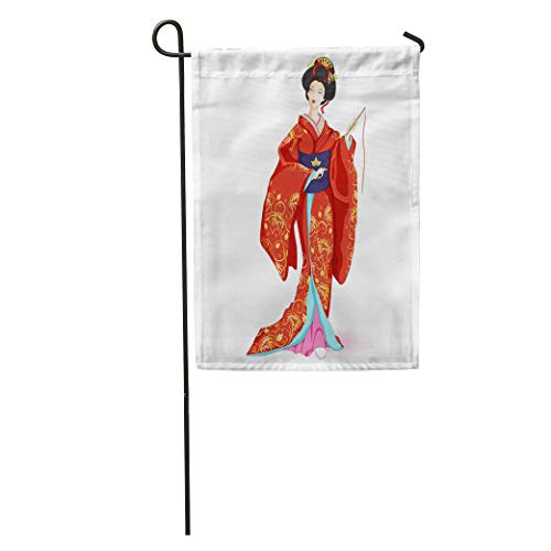 Semtomn Garden Flag Japan National Doll Hina Ningyo in Red Kimono Pattern Home Yard Decor Barnner Outdoor Stand 12x18 Inches Flag