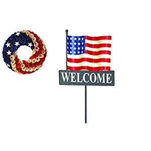 Regency American Flag Wreath and Welcome Yard Stake Set 33