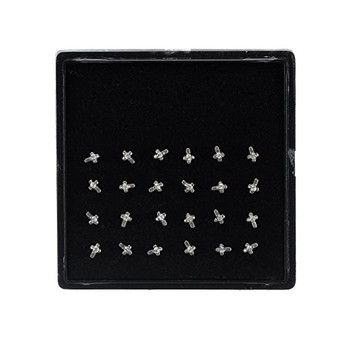 316l Surgical Steel Nose Stud Nose Rings Bone Stud Cross Star Shape Lot 24 Pieces in Case White (Stud Cross Nose)