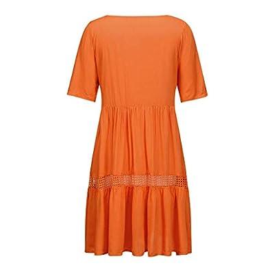 F_Gotal Women Summer Sundress Boho Plain Midi Dress High Waist Empire Lace Dress Hollow Out 3/4 Sleeve Swing Sundress at  Women's Clothing store