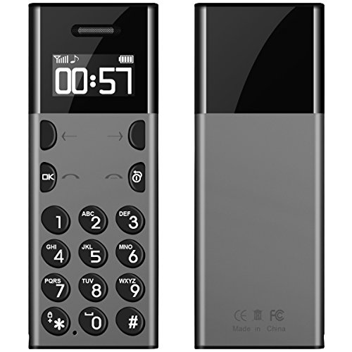 Padcod Unlocked GSM Flip Cell Phone Mini 0.9 Inch OLED Screen with Comfortable Keypad Super Slim Body, Bluetooth Dailer Synchronization Cellphone (Gray)