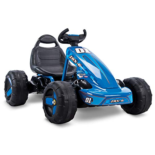 41Jr%2BQQCRxL - Huffy 17197P 6V 2 in 1 Ride On Car for Kids, Flat Kart Toy, Blue