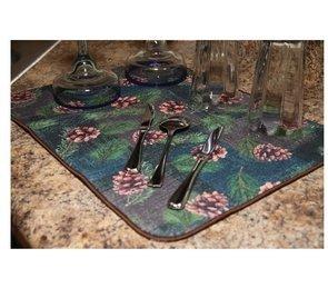 Microfiber Dish Drying Mat - Pinecones by Rivers Edge 1670
