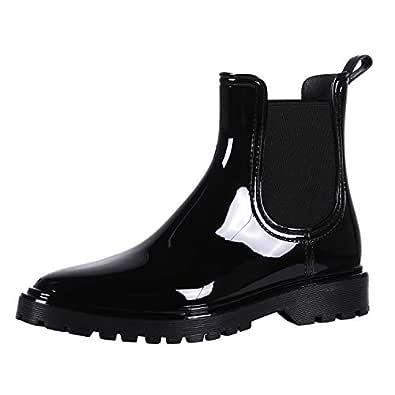 Evshine Ankle Rain Boots for Women Waterproof Platform Chelsea Boots Black 5.5
