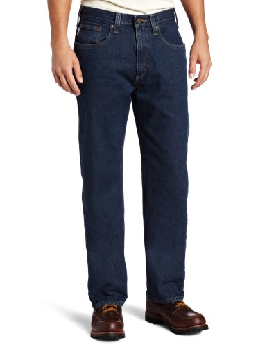 Carhartt Men's Traditional Fit Denim Five Pocket Jean,Dark Vintage Blue  (Closeout),44 x 32 by Carhartt