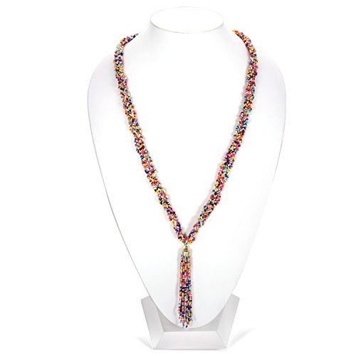 (TAZZA MULTICOLORED SEED BEAD TASSEL LONG NECKLACES #N844)