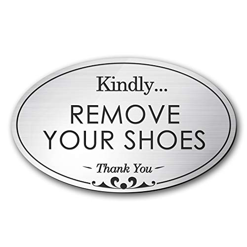 (My Sign Center Please Remove Your Shoes Sign, Oval Shaped, Laser Engraved, Indoor and Outdoor Use, 3