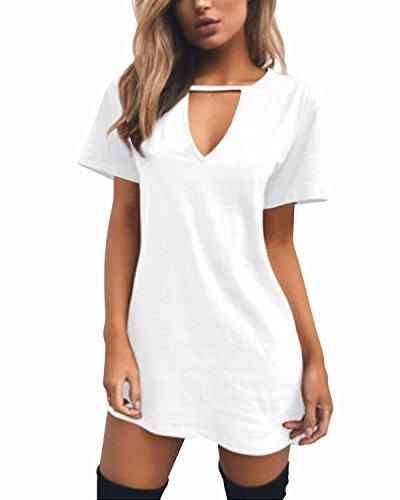 SOLERSUN Women Sexy Solid Loose T-Shirt Dress Choker V Neck Short Sleeve Top