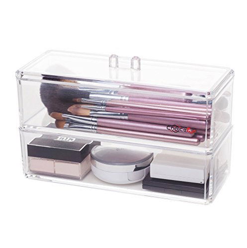 Choice Fun Acrylic 2 Tiers Clear Cosmetic Organizer and Makeup Brush Holder with (Clear Acrylic Lid Organizer)