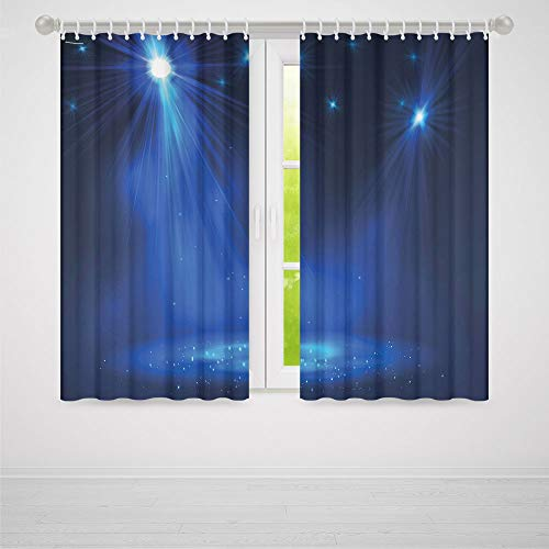 ion,Dark Blue,for Living Room,Smoky Stage Disco Night Club Studio Theater Show Fame Performance2 Panel Set,103W X 83L Inches ()