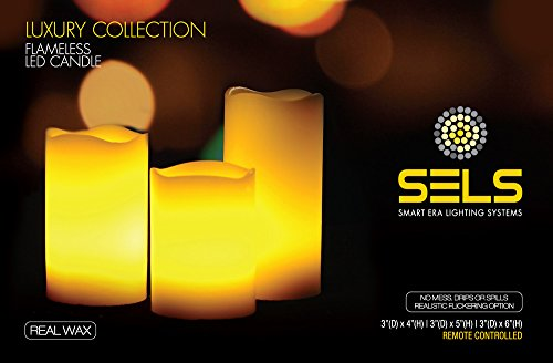 SELS LED Real Wax Flameless Flickering Candle Set with Ti...