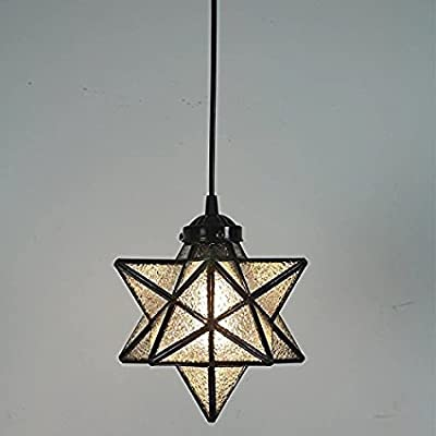Clear Glass Star Pendant Light Retro Style Lamp Shade Chandelier Ceiling Hanging Droplight for Cafe Loft Bar Living Study Room Corridor Aisle (20cm)