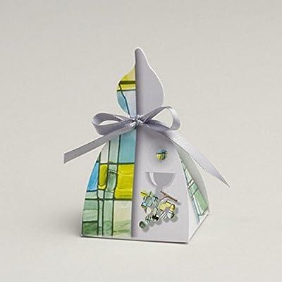 Ballotins à dragées communion- boites à dragées forme bougie vitrail vert x10