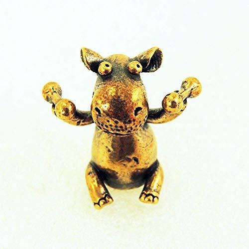 Hippo With Dumbbells Figurine Animal Figure Decorative Hippopotamus Figurine Bronze