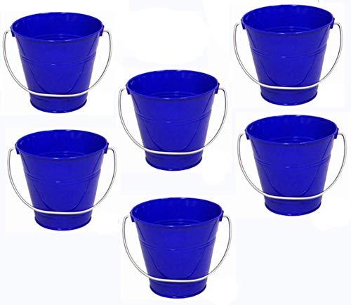 ITALIA 6 Pack Metal Bucket, Royal Blue Metal Bucket 5