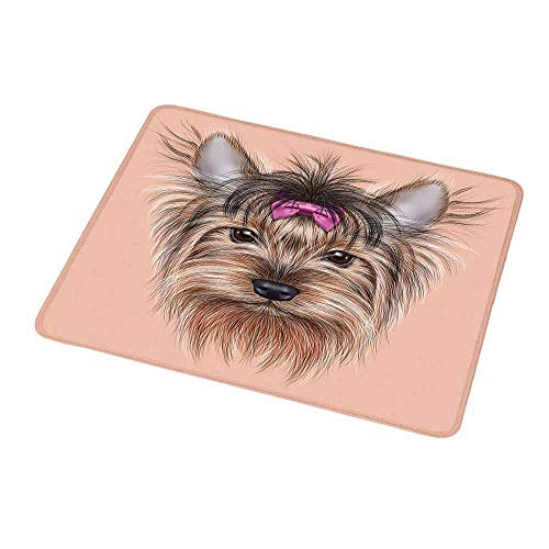 (Custom Mouse Pad Gaming Mat Yorkie,Realistic Computer Drawn Image of Yorkshire Terrier with Cute Ribbon Animal,Salmon Light Brown,Custom Design Gaming Mouse Pad 9.8