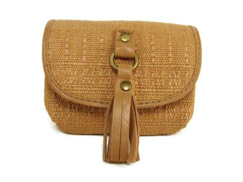 - M Style Lab Mini Straw Pattern Pocket Wallet with Tassel (Tan)