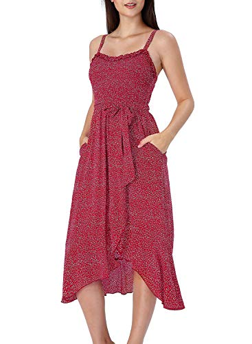 Asymmetrical Ruched Bodice Dress - VFSHOW Womens Red and White Dot Ruffle Neck Spaghetti Strap Smocked Pockets Casual Beach Swing A-Line Midi Dress G3123 RED XS