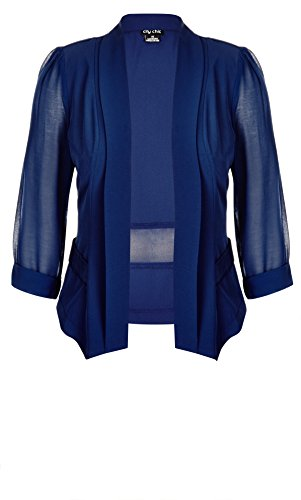 Designer Plus Size JKT DRAPEY BLAZER CO - French Navy - 24 / XXL | City Chic