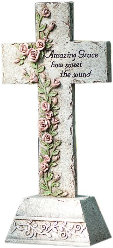 Roman 65461 Tall Cross Statue with Vine of Roses Inscribed with The Verse Amazing Grace How Sweet The Sound, 14-Inch Inscribed Cross