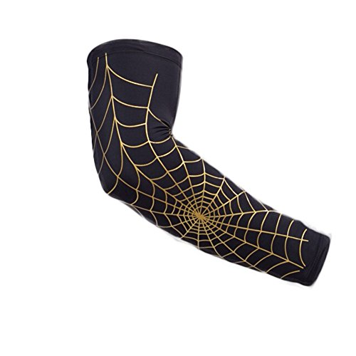 ZYN Spider Web Sport Arm Sleeve Guards Sunscreen Sweat Absorption for Baseball Basketball Cycling Hiking Black Cloth Gold Web 1 Pair M