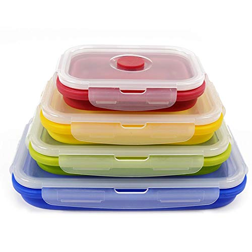 Rubbermade Brilliance Food Storage Containers - Food Storage Containers - 4pcs/set Silicone Lunch Box Folding Food Grade Silicone Container Portable Collapsible Food Picnic Fruits Storage Box
