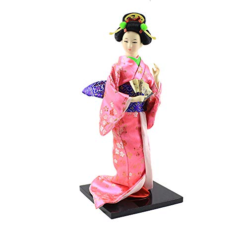 Heartrace 30cm/12'' Oriental Japanese Geisha Silk Kimono Statue Dancer Asian Doll House Car Interior Decoration