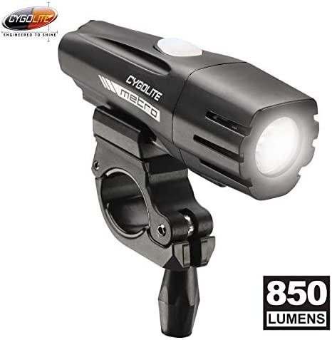 Cygolite Metro 850 Lumen Bike Light 4 Night Modes Daytime Flash Mode Compact Durable IP67 Waterproof Secured Hard Mount USB Rechargeable Headlight for Road, Mountain, Commuter Bicycles