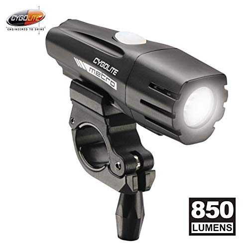 Cygolite Metro- 850 Lumen Bike Light- 4 Night Modes & Daytime Flash Mode- Compact & Durable - IP67 Waterproof- Secured Hard Mount- USB Rechargeable Headlight- for Road, Mountain, Commuter Bicycles