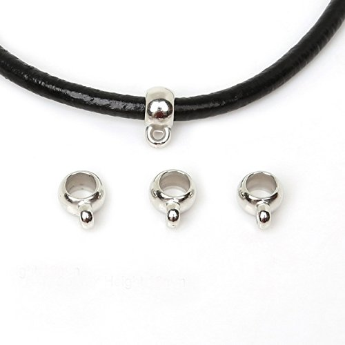 - 20 PCS Leather Cord Necklace Pendant Bails Clasps Bracelet Bangle Connector Jewelry Findings Tibetan Spacers Accessories Fit European Charms Making (Antique Silver 9mm Hole 3mm)