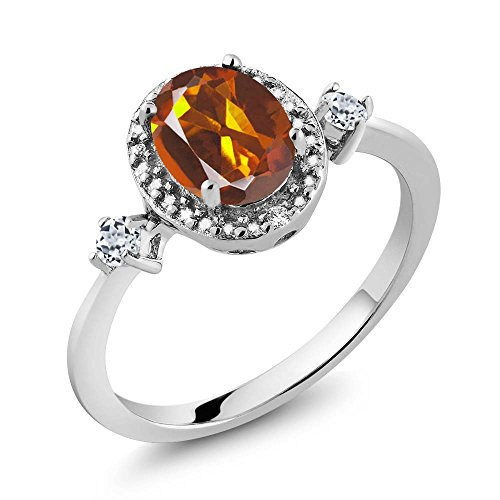 Madeira Citrine Ring (1.27 Ct Oval Orange Red Madeira Citrine White Topaz 925 Sterling Silver Ring With Accent Diamond)