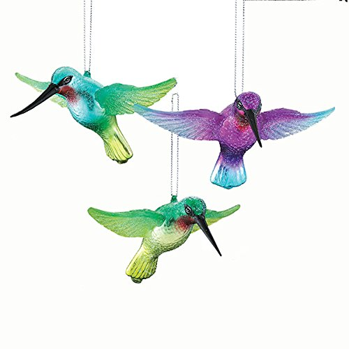 amazoncom kurt adler glass noble gems 1 set 3 assorted hummingbird ornaments home kitchen