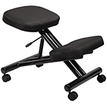 Ergonomic kneeling chair steel frame knee stool in Black Fabric for Posture Correction and Back Pain Relief