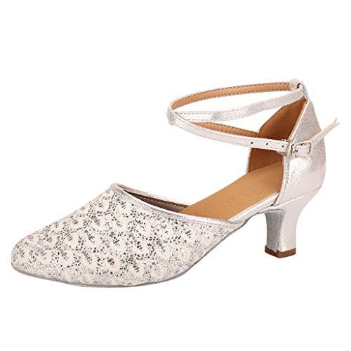 (AHAYAKU Fashion Womens Waltz Modern Dance Shoe Ballroom Latin Dance Soft Bottom Sandals Silver)