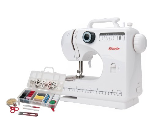 Sunbeam SB1818 Easy-to-Use Everyday Compact Sewing Machine Over 100 Piece Of All Basic Sewing Kit Included, 18 stitches including Buttonhole Zigzag And Other Popular Stitching (Threading Case Bobbin)