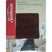 Sunbeam Microplush Throw Heated Electric Warming Heating Blanket, Cranberry Red