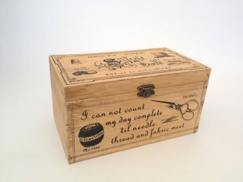 Vintage Wooden Storage Box Shabby Wood Sewing Craft Chest