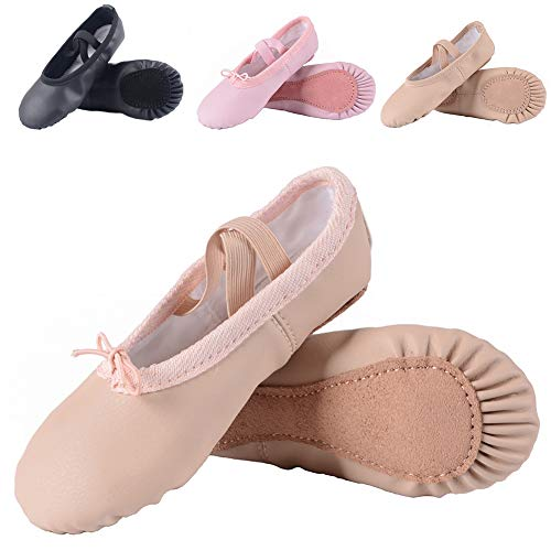 Leather Ballet Shoes for Girls/Toddlers/Kids, Full Sole Leather Ballet Slippers/Dance Shoes, Pink/Nude (Foot Length:175mm - Little Kid - 11M US, Full Sole-Nude-Leather) -