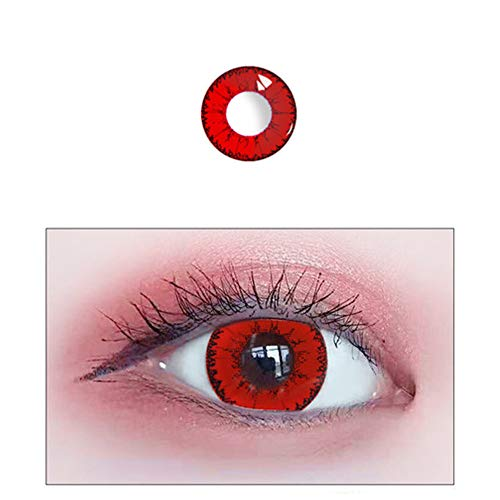 YBB 1 Pair Eyes Color Contacts Lens Eyes Cosmetic Makeup Eye Shadow (red) ()