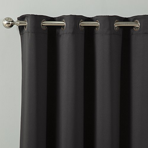"Best Home Fashion Thermal Insulated Blackout Curtains - Antique Bronze Grommet Top - Black - 52""W x 84""L - (Set of 2 Panels)"